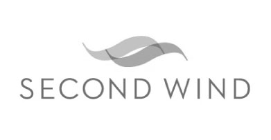 Logo for Second Wind which features to overlapping 'S' shaped forms set horizontally to resemble air flow