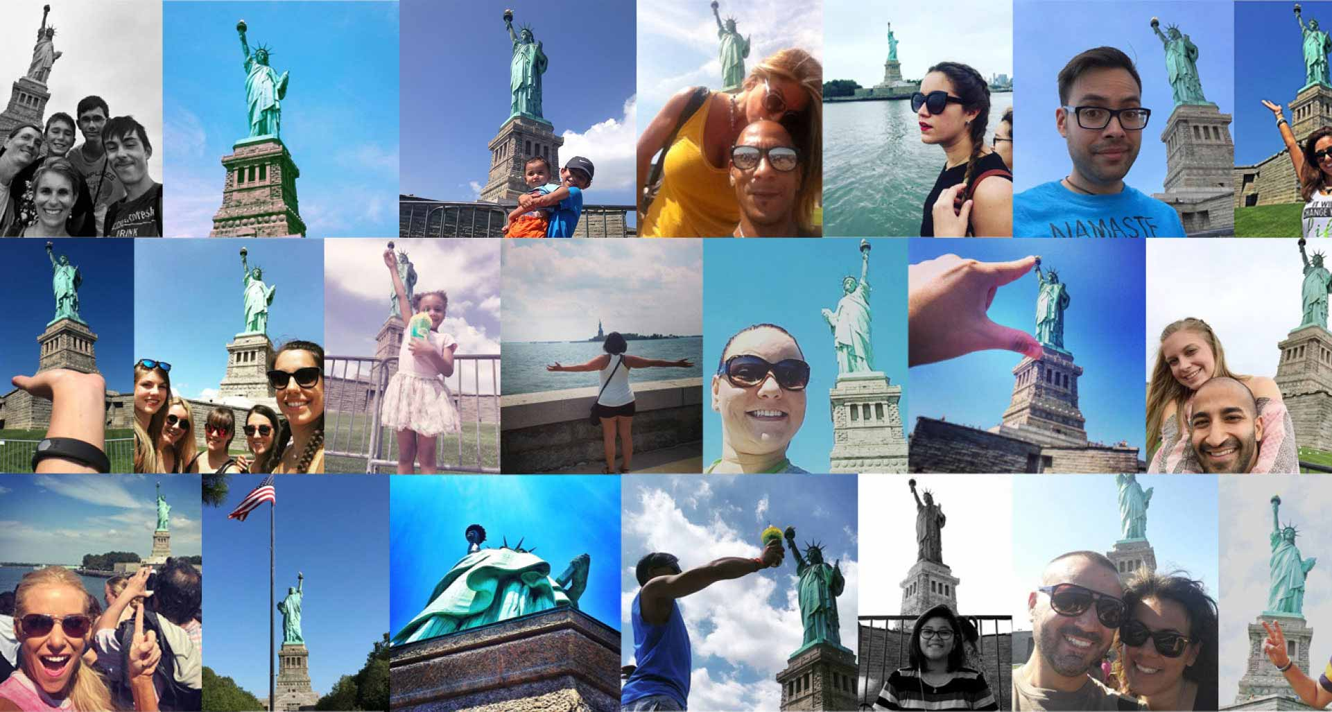 photo collage of tourists at stature of liberty