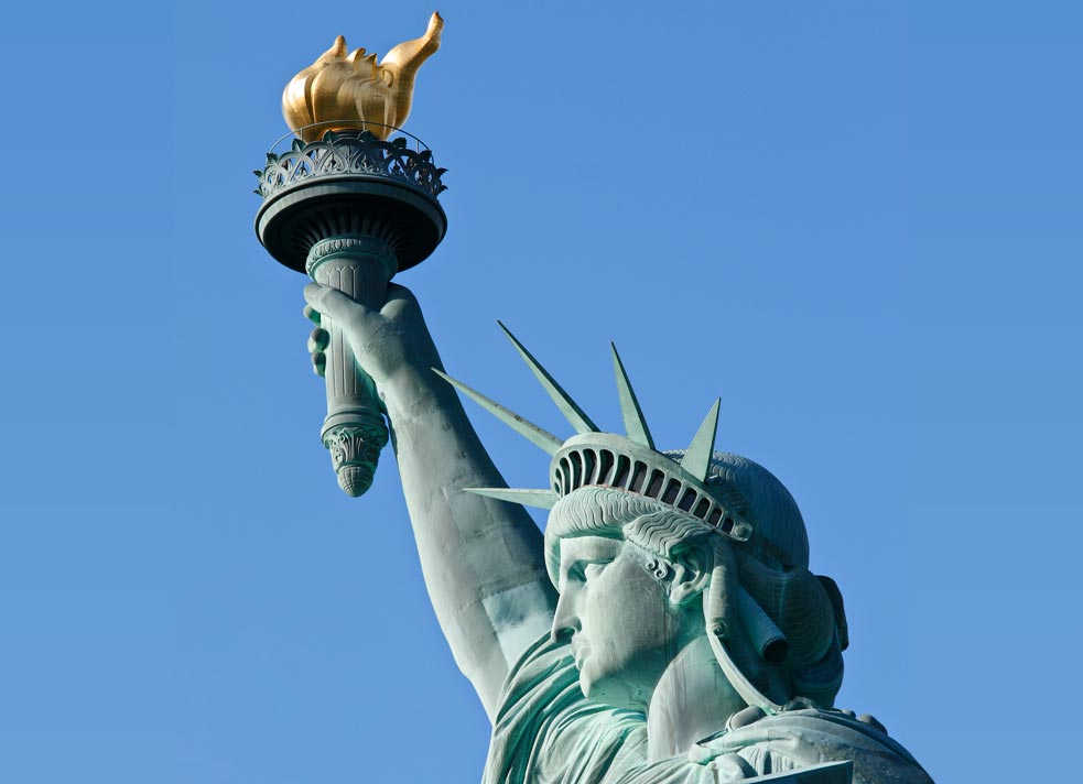 statue of liberty torch and head with crown