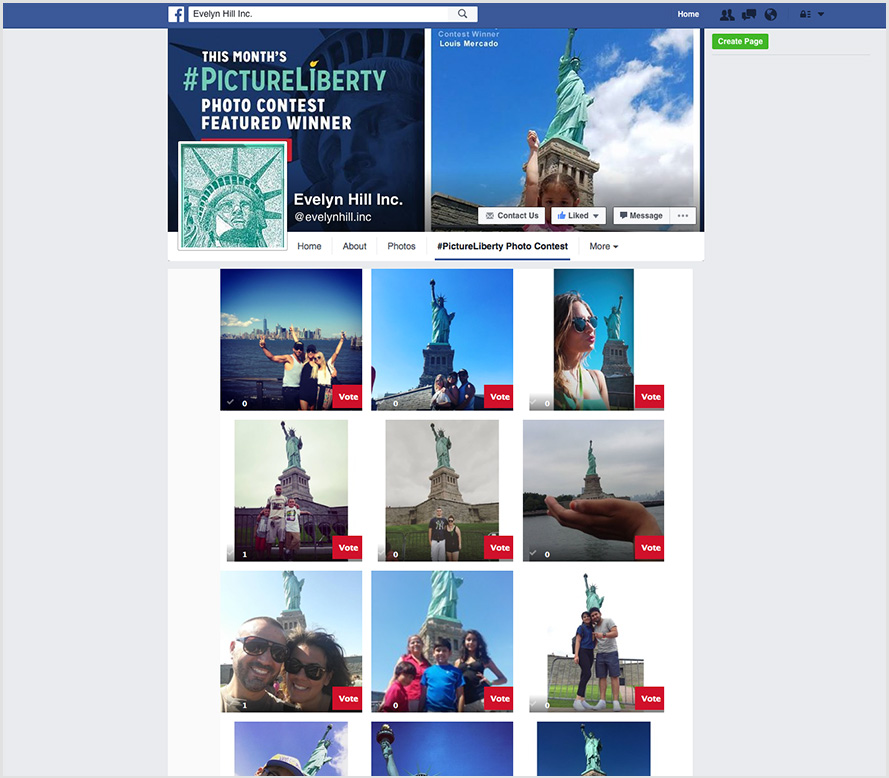 facebook page of evelyn hill inc. with picture liberty contestants