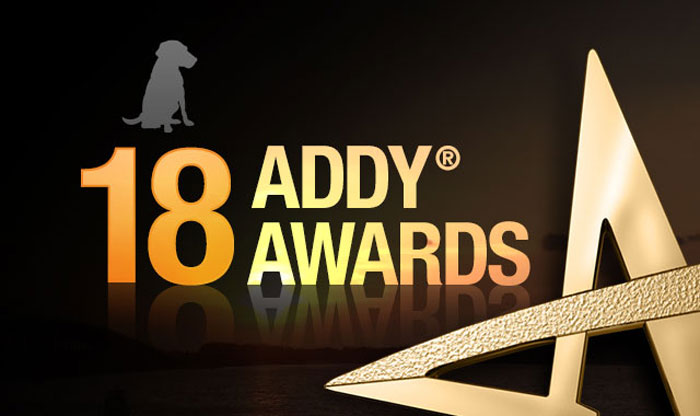 BlackDog graphic with text that says 18 Addy Awards