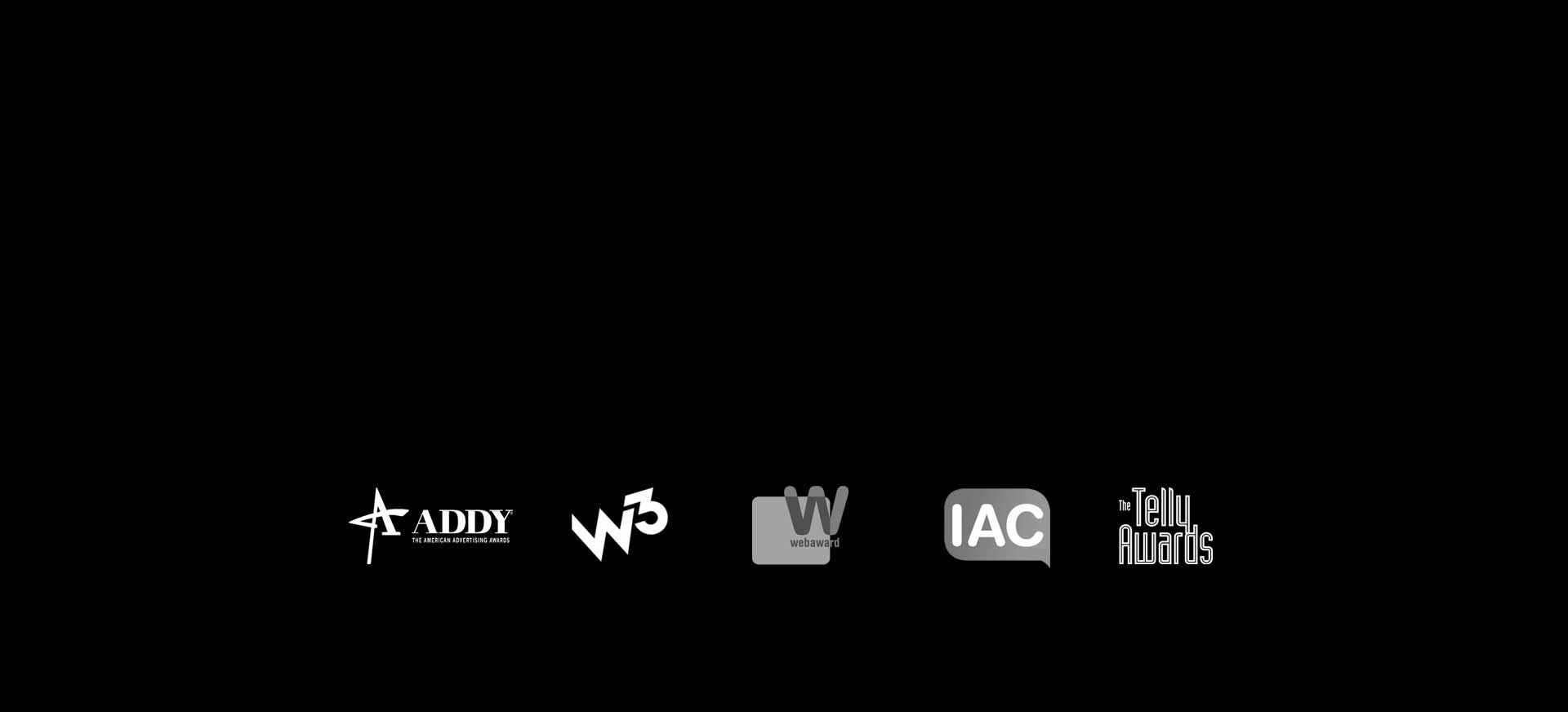 Five logos shown for The American Advertising Awards, the W3 advertising awards, Web Awards, Internet Advertising Competition and the Telly Awards