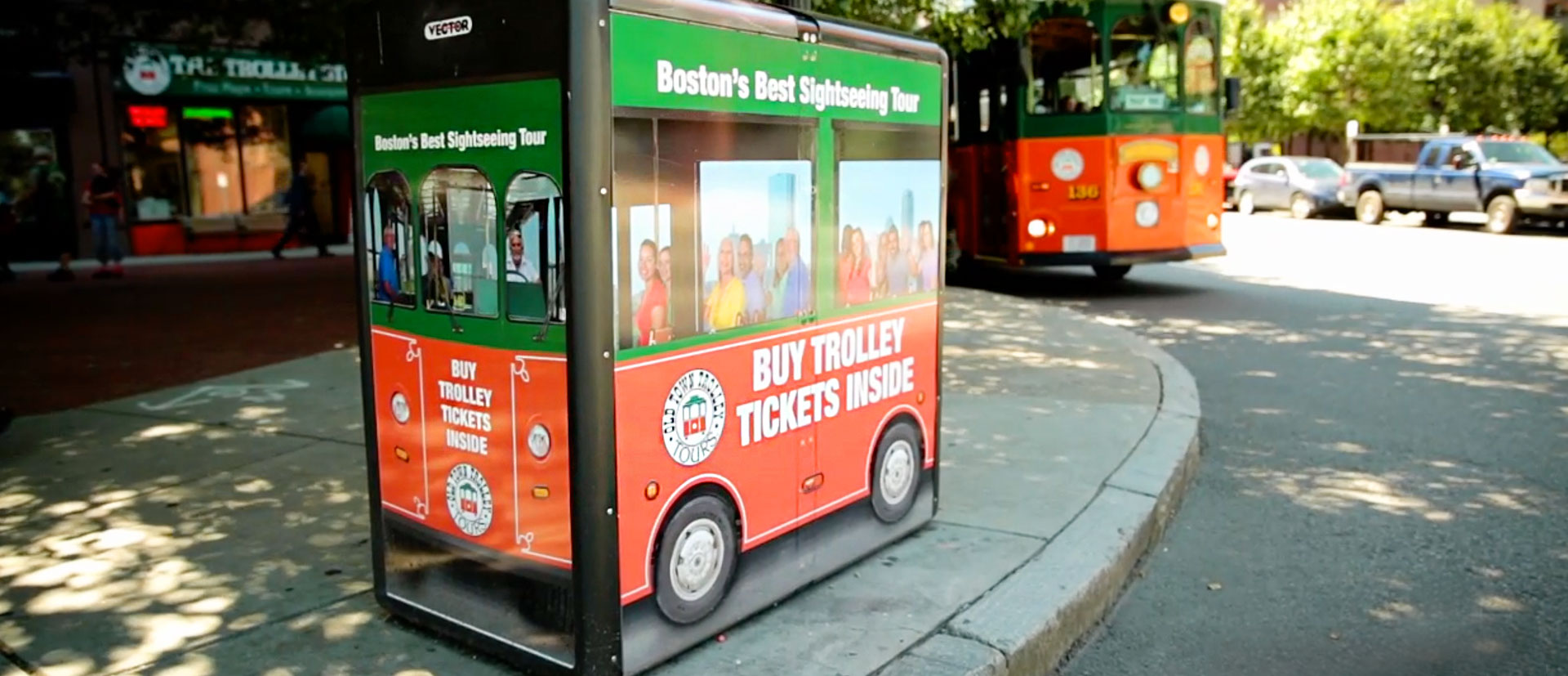 Image of Boston Recycling Bin Graphics For Outdoor Advertising Campaign for Old Town Trolley