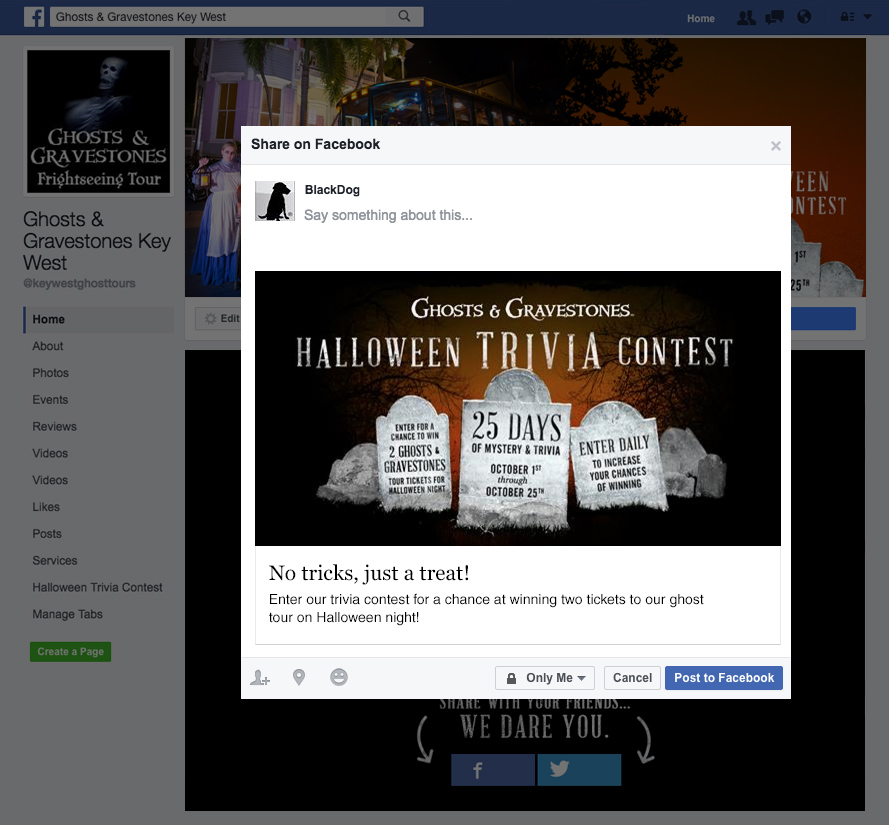 screenshot of facebook promoted post for halloween contest