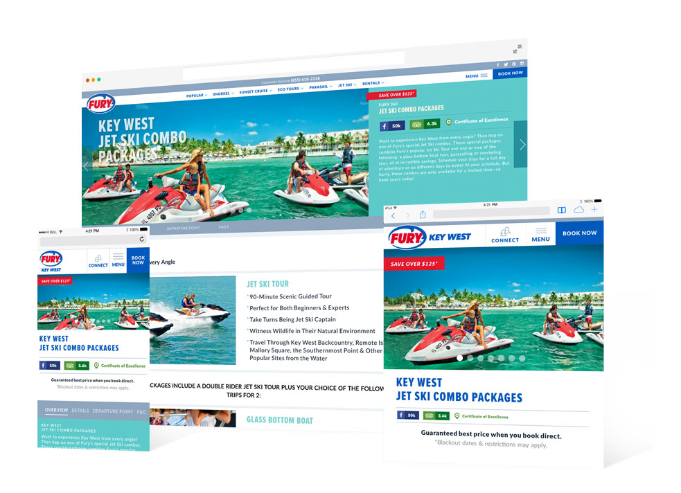 Fury Jet Ski landing page in various devices