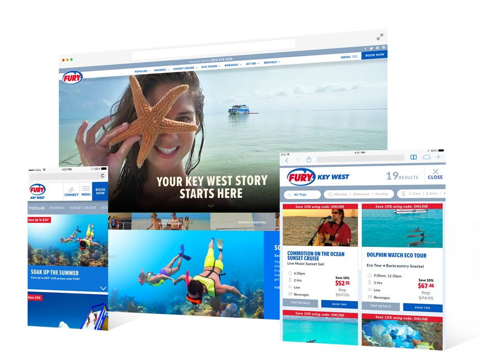 Various screenshots from the Fury Watersports website showing a girl holding a starfish to her face with the caption 'Your Key West Story Starts Here'