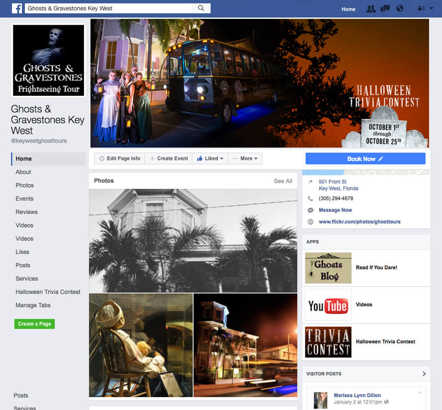 screenshot of ghosts and gravestones facebook page