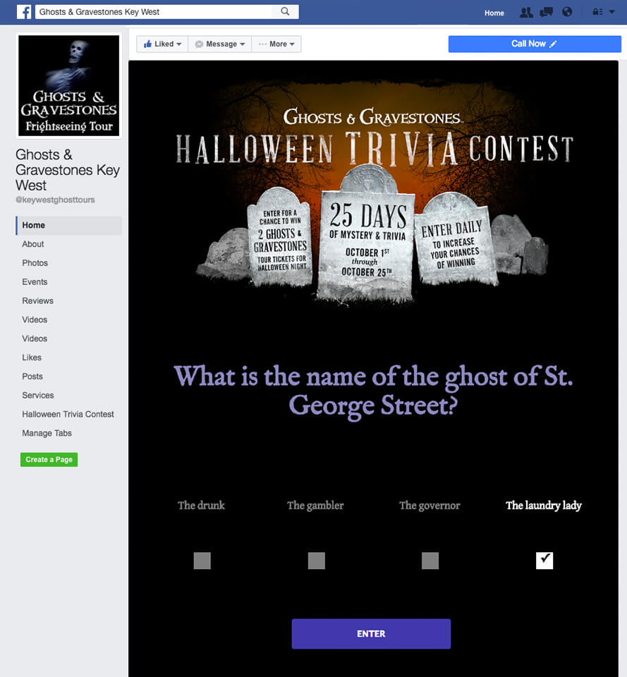 screenshot of trivia question on ghosts and gravestones facebook page