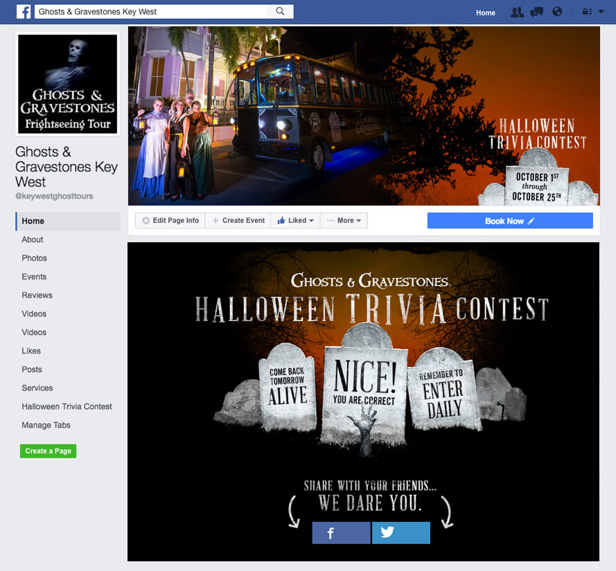screenshot of ghosts and gravestones correct answer on facebook