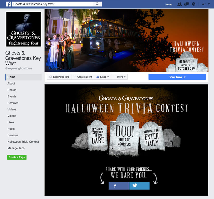 screenshot of ghosts and gravestones wrong answer on facebook