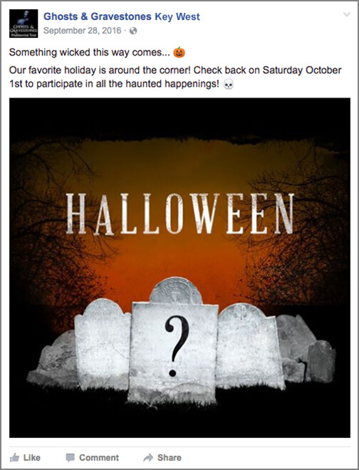ghosts and gravestones organic facebook post
