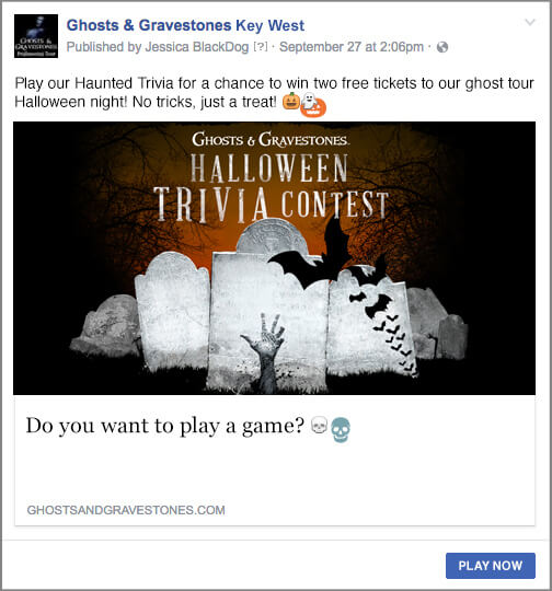 ghosts and gravestones promoted facebook post