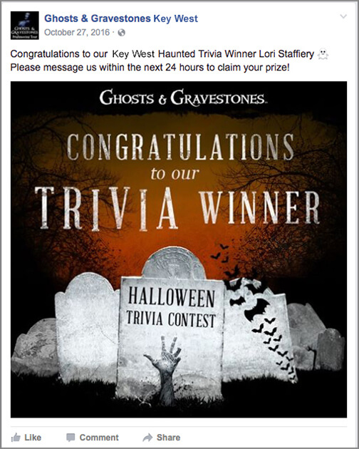 ghosts and gravestones winner facebook post