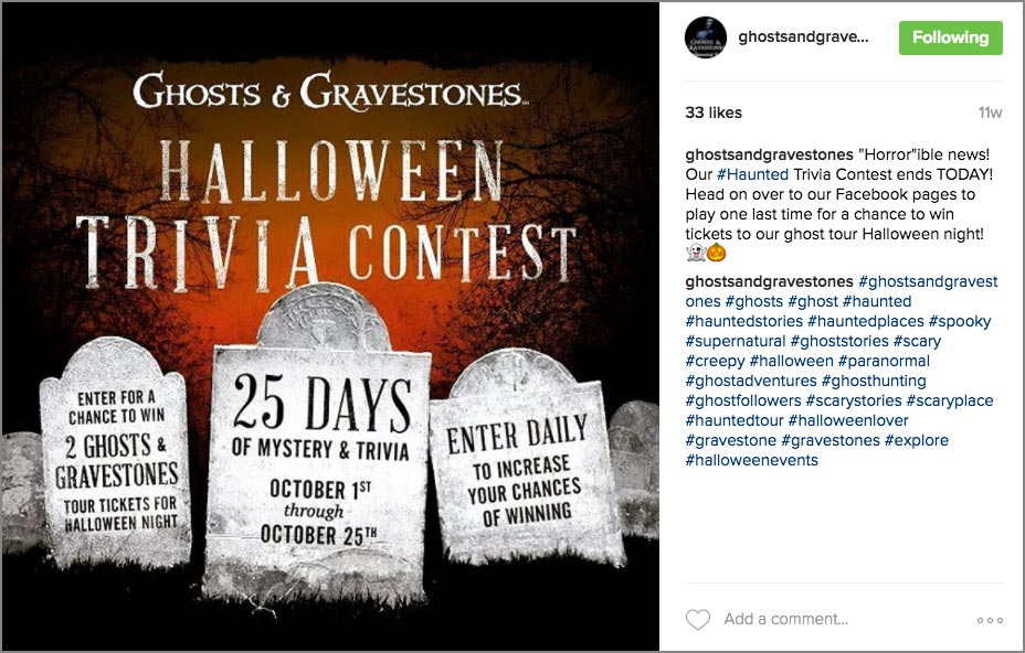ghosts and gravestones instagram post with hashtags