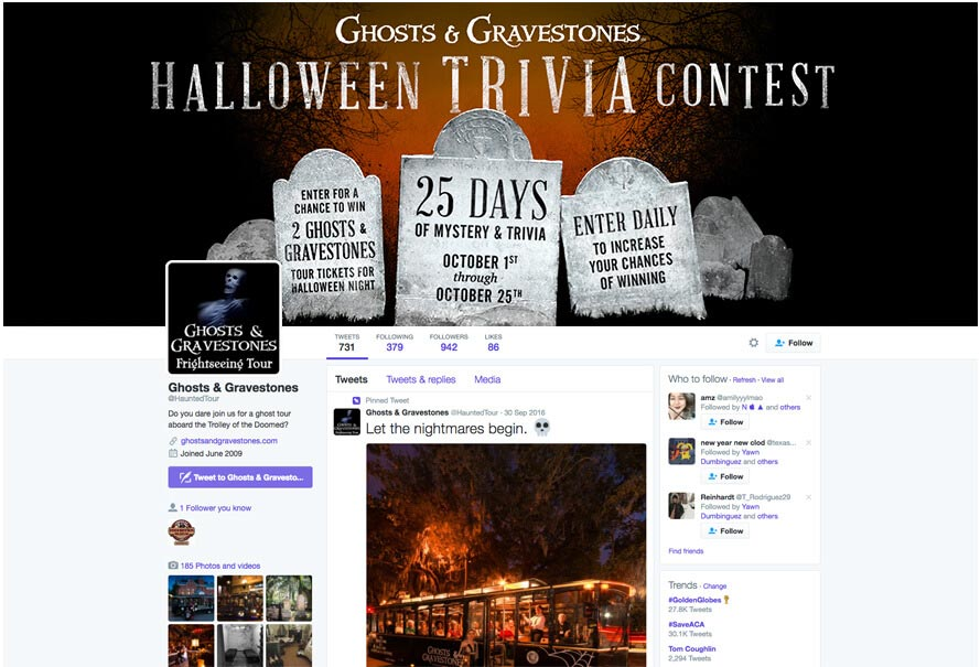 screenshot of ghosts and gravestones twitter feed