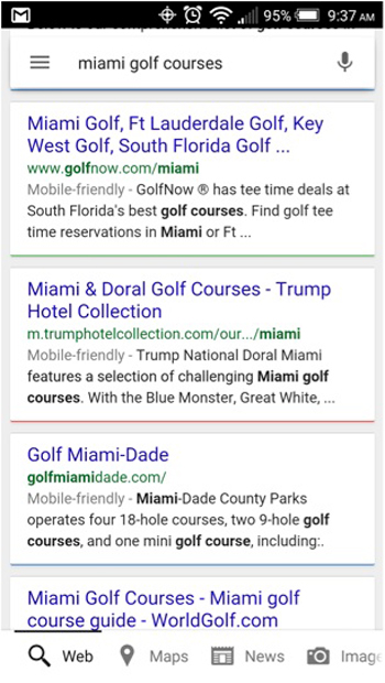 screenshot of mobile google search for miami golf courses