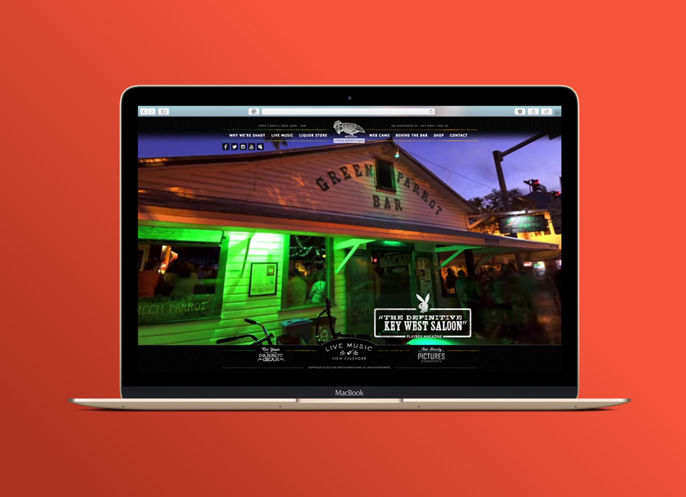 green parrot key west website design on laptop