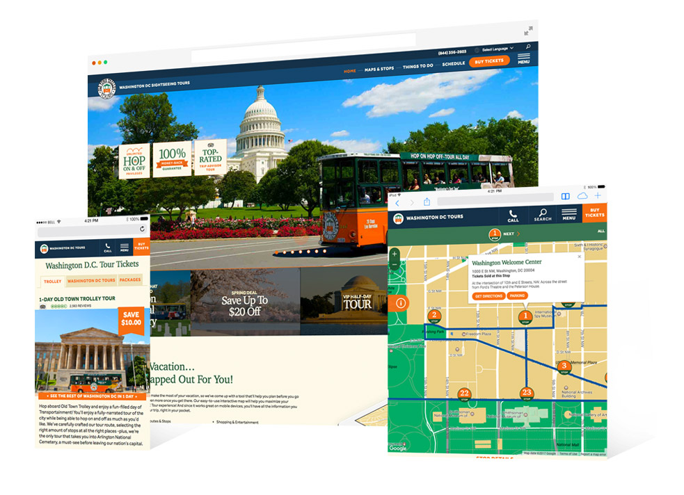 Old Town Trolley Responsive Website Design by Blackdog Advertising Miami