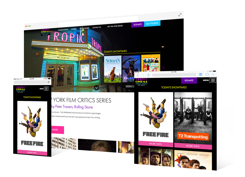 Screenshot of the Tropic Cinema's Key West landing page that shows the exterior of the theater with neon letters as well as several movie promos