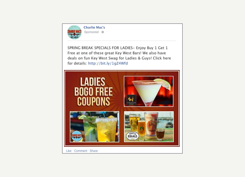 A screen grab of a facebook promoted post for Charlie Mac's in Key West that offers BOGO drinks for ladies night