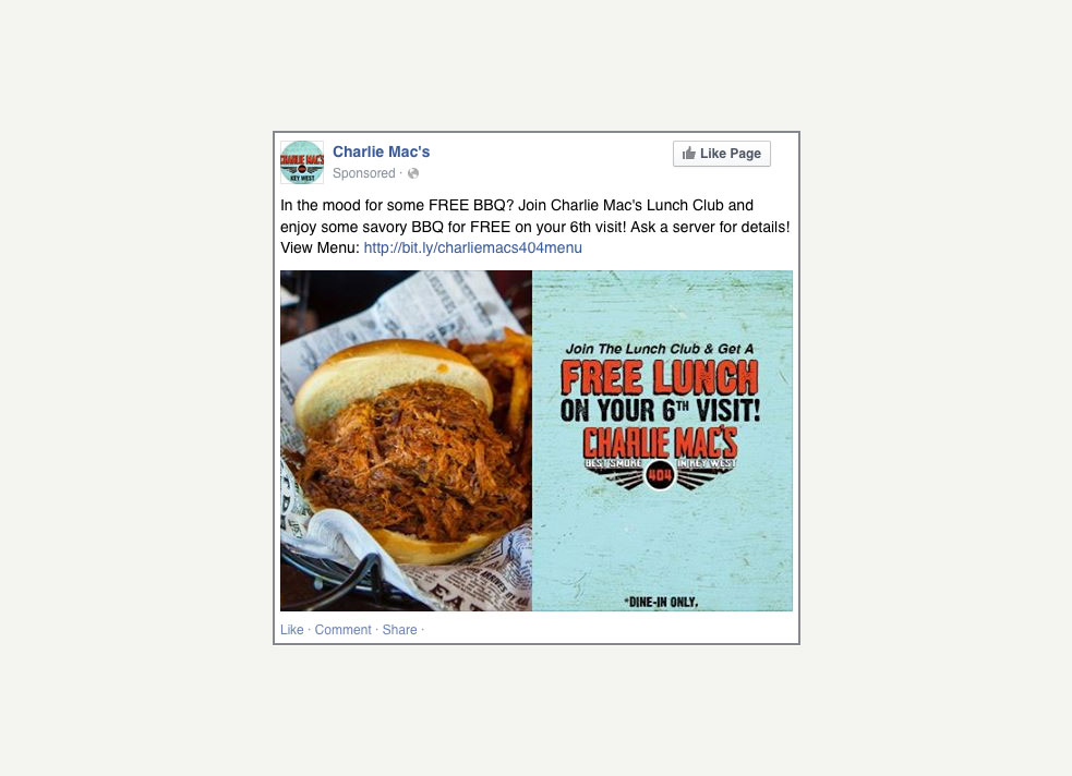 A screen grab of a promoted Facebook post from Charlie Mac's in Key West that shows a pulled-pork sandwhich next to some fries