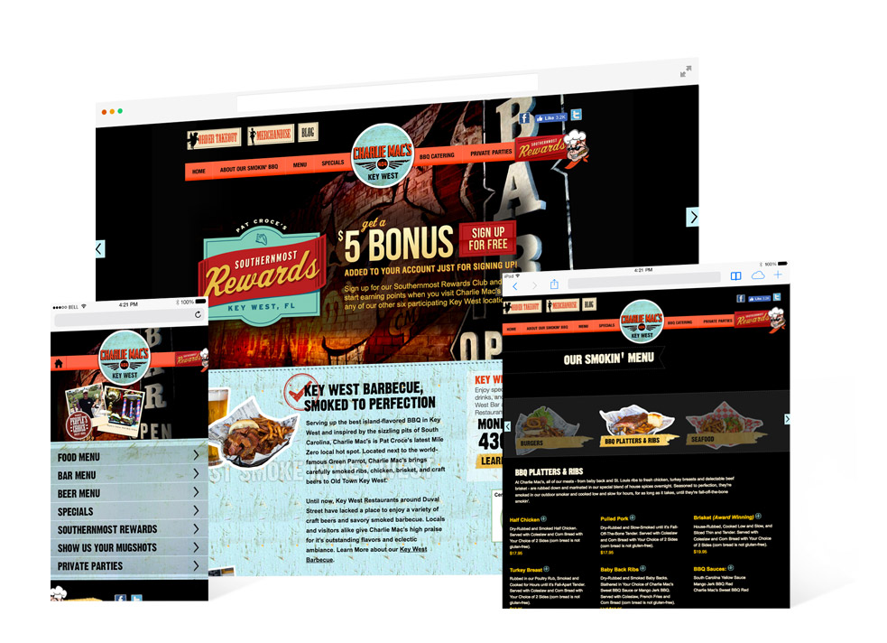 Screen shots from the Charlie Mac's Key West website including the landing page that shows the exterior of the bar/grill and a portion of the menu