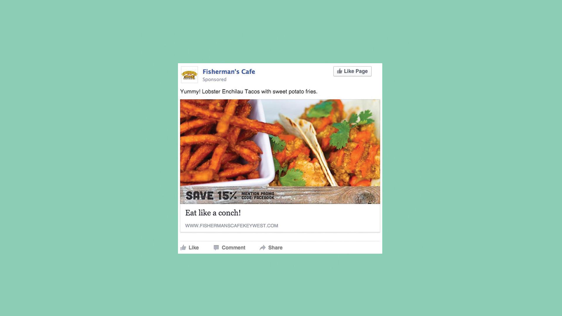 Fisherman's Cafe lobster tacos Facebook post