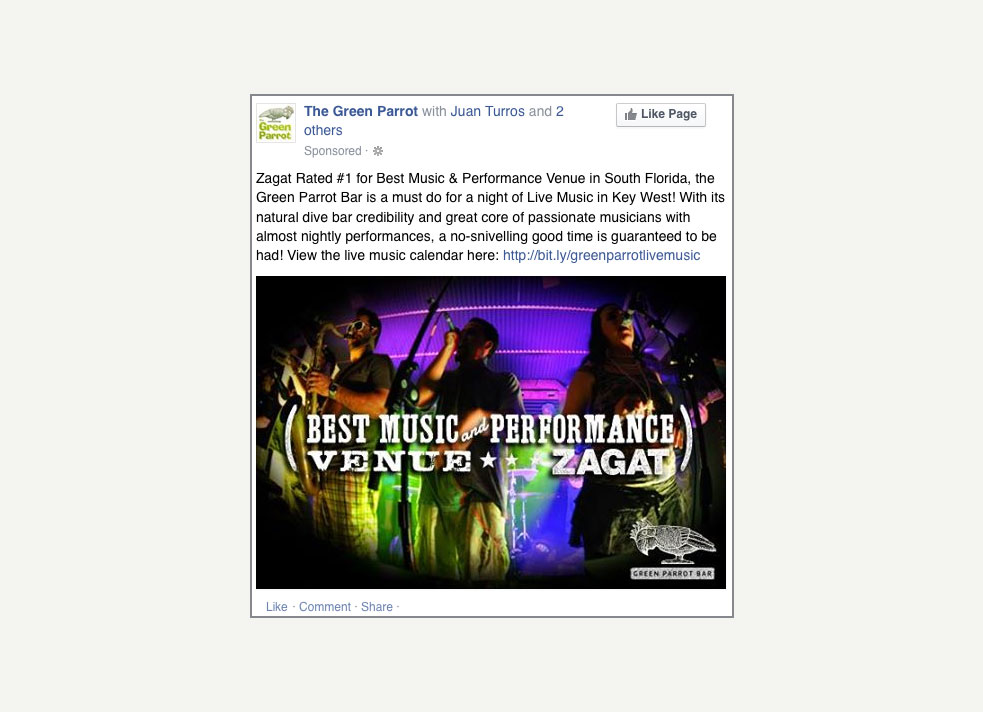 A Facebook promoted post from the Green Parrot Bar in Key West that shows three musicians distorted by a fish-eye lense that announces a favorable Zagat review