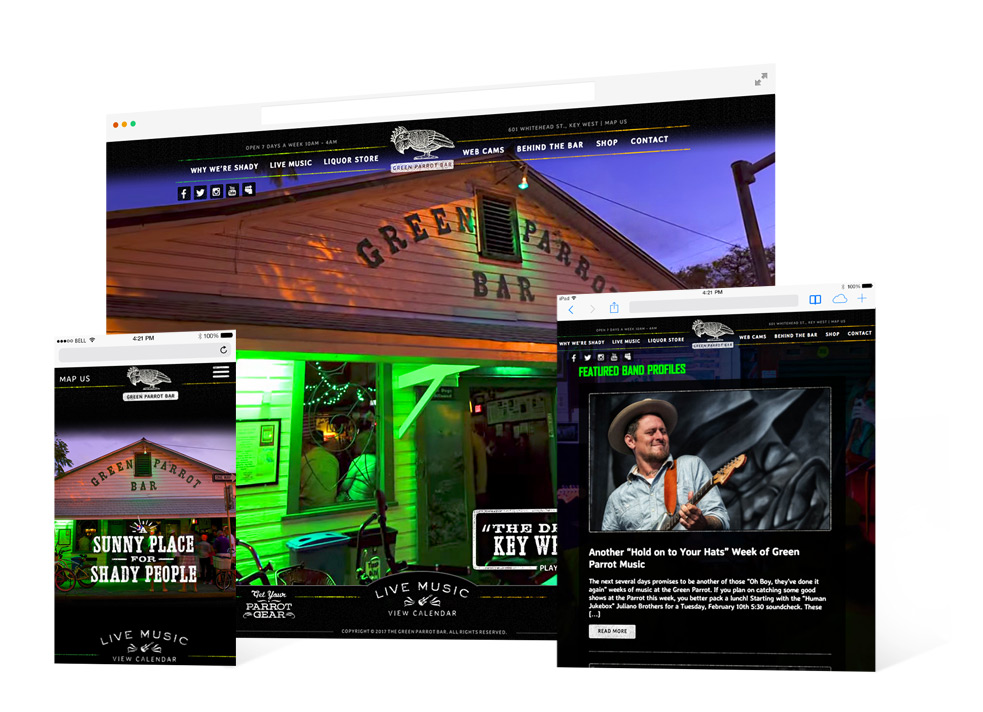 Screen grabs from the Green Parrot Bar for both desktop and mobile landing page showing the exterior of the venue as well as the Band Profiles section