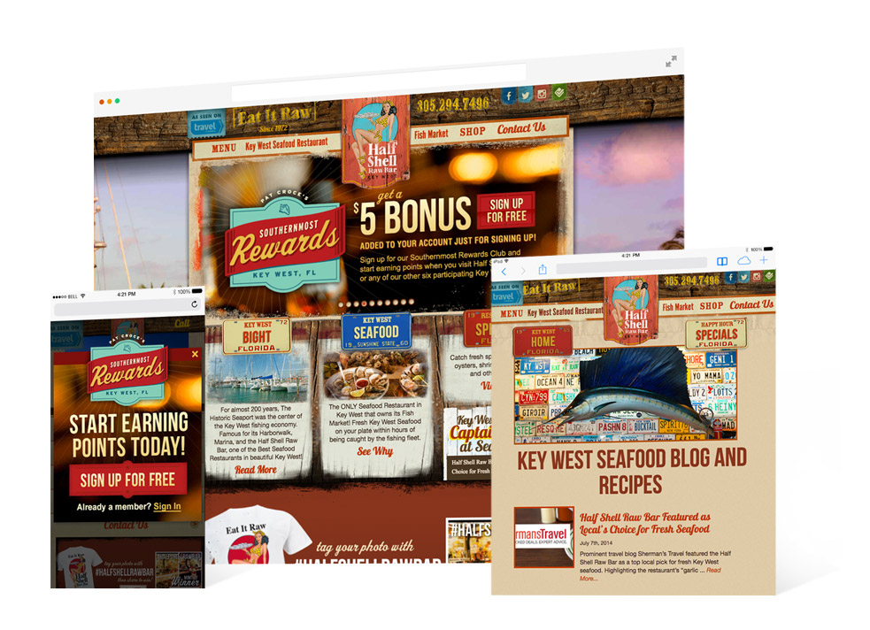 Screen grabs from the Half Shell Raw Bar for both desktop and mobile landing page showing southernmost rewards details as well as page showing Key West seafood blog and recipes