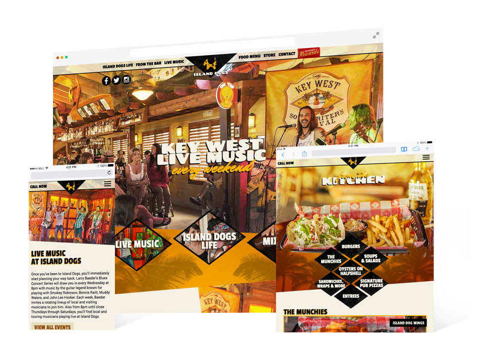 Screen grabs from Island Dogs desktop and mobile website landing page showing live music performers and page showing menu