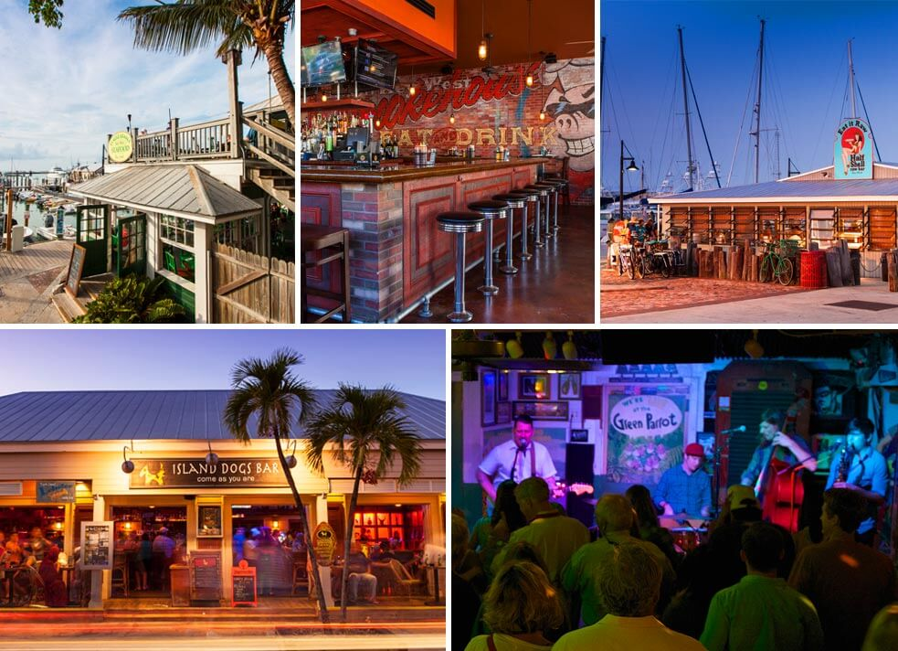 Five pictures: Turtle Kraals restaurant exterior, Charlie Macs Bar, Half Shell Raw Bar exterior, Island Dogs Bar Exterior and Green Parrot Bar performers on stage