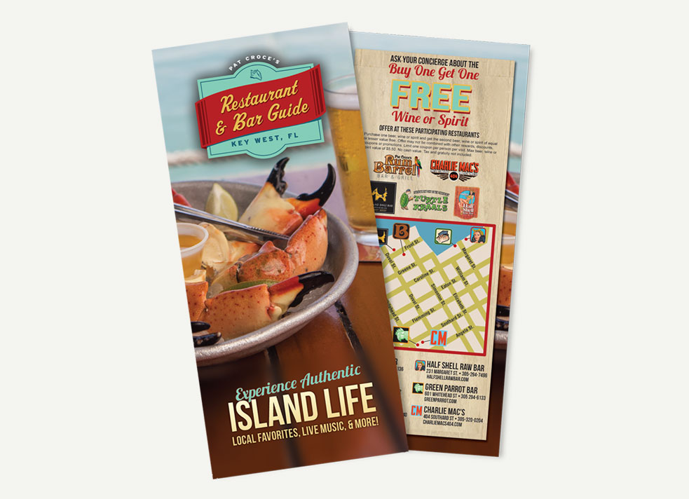 Picture of Pat Croce Restaurant & Bar Guide brochure cover showing crab legs and back cover showing locations map, buy one get one free offer and logos for restaurants
