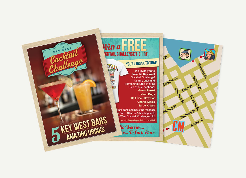 Picture of Key West Cocktail Challenge brochure cover showing two drinks and the words '5 key west bars, 5 amazing drinks' and interior pages showing 'win free t-shirt' promo and map