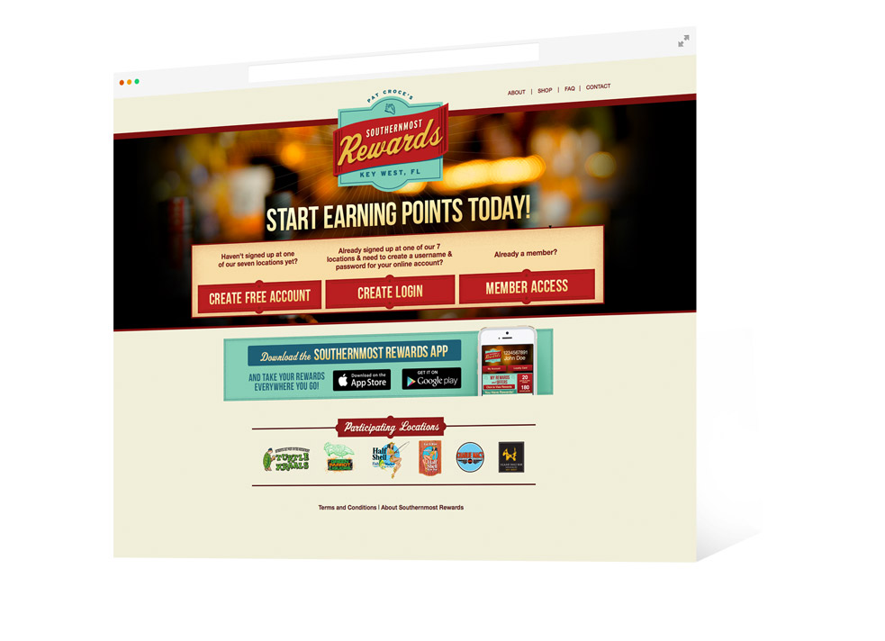 Screen grab of Pat Croce Southernmost Rewards landing page and the words 'start earning points today'