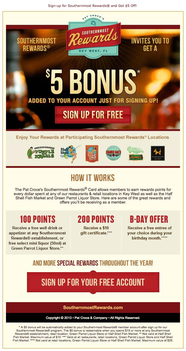 Southernmost Rewards email design