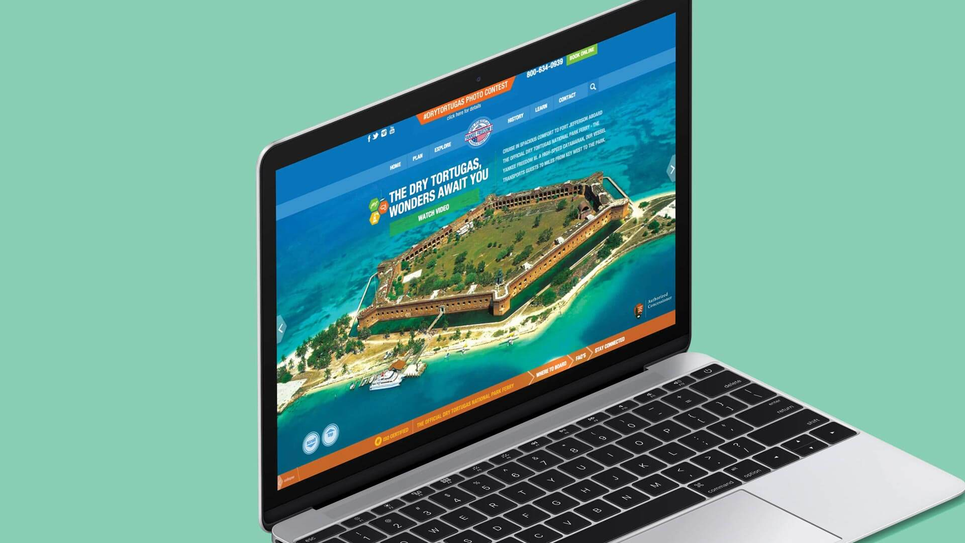 Dry Tortugas Homepage on laptop