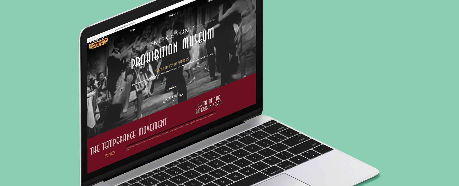 prohibition museum savannah responsive website on laptop