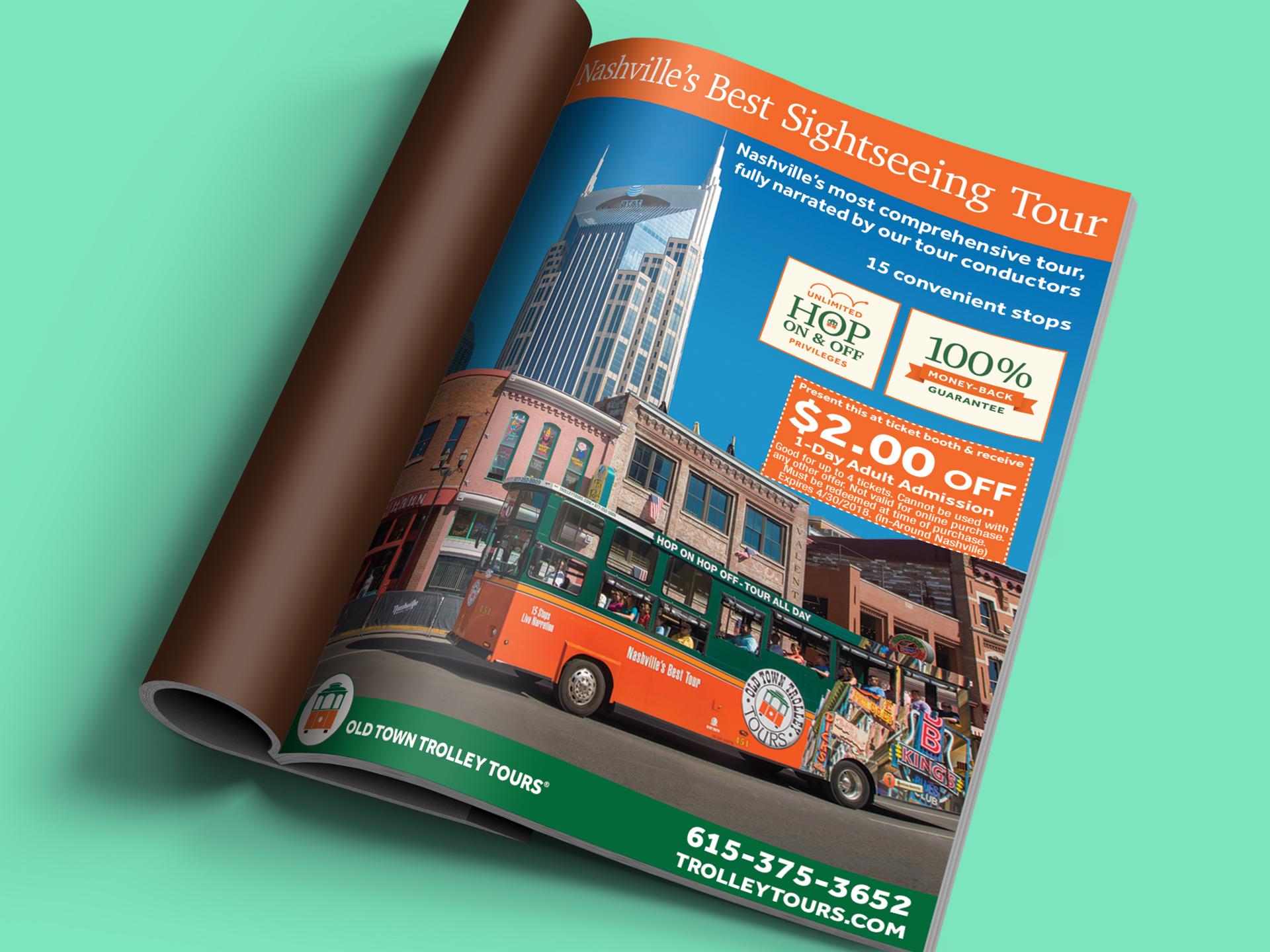 old town trolley nashville magazine print ad
