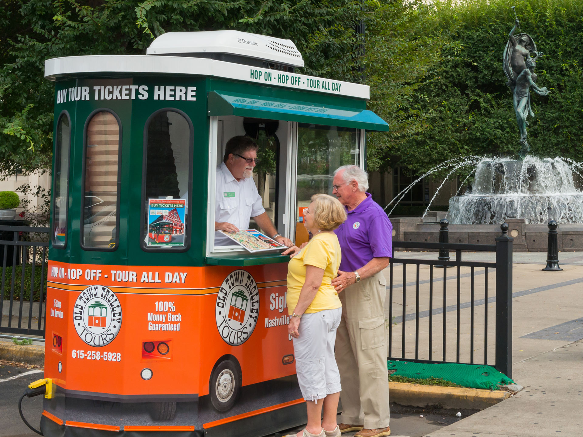 old town trolley branded ticket booth in nashville