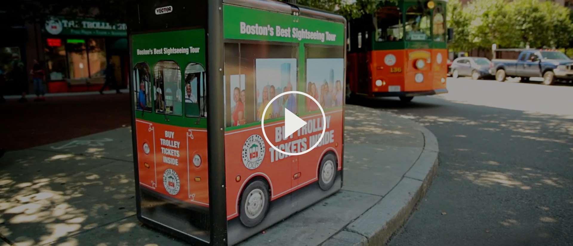 A Boston recycling bin made to look like an Old Town Trolley