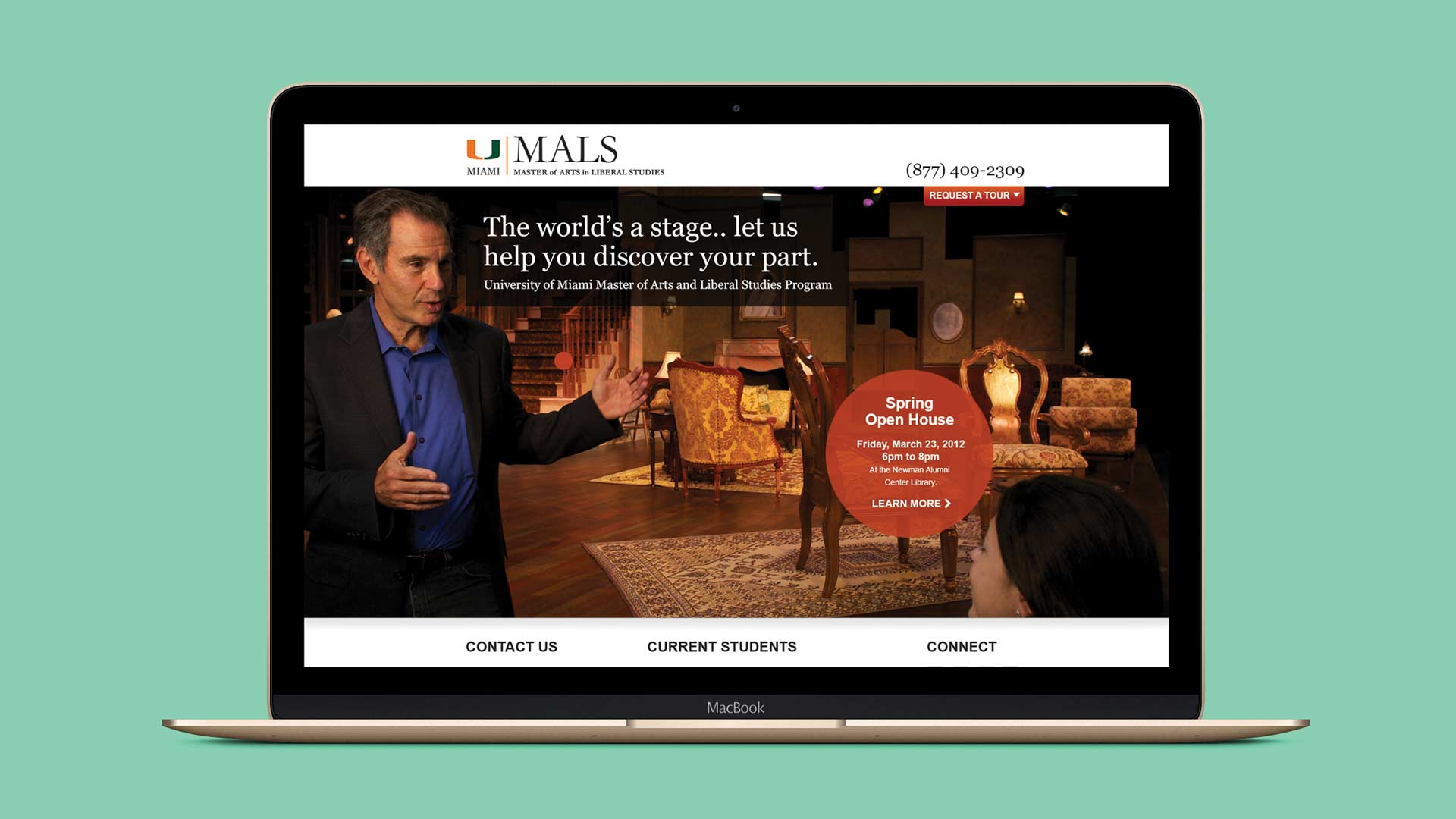 University of Miami MALS Website Design On Laptop Screen
