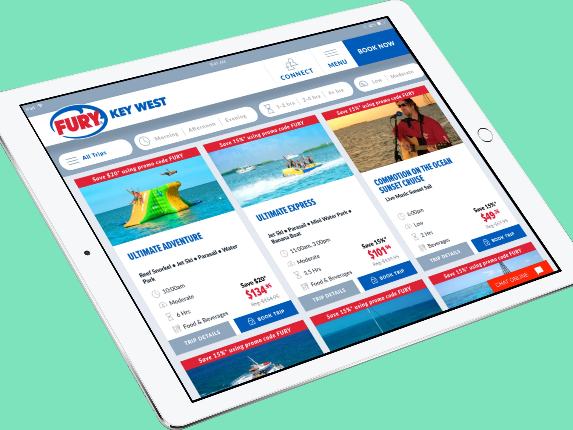 fury water adventures responsive website on tablet view
