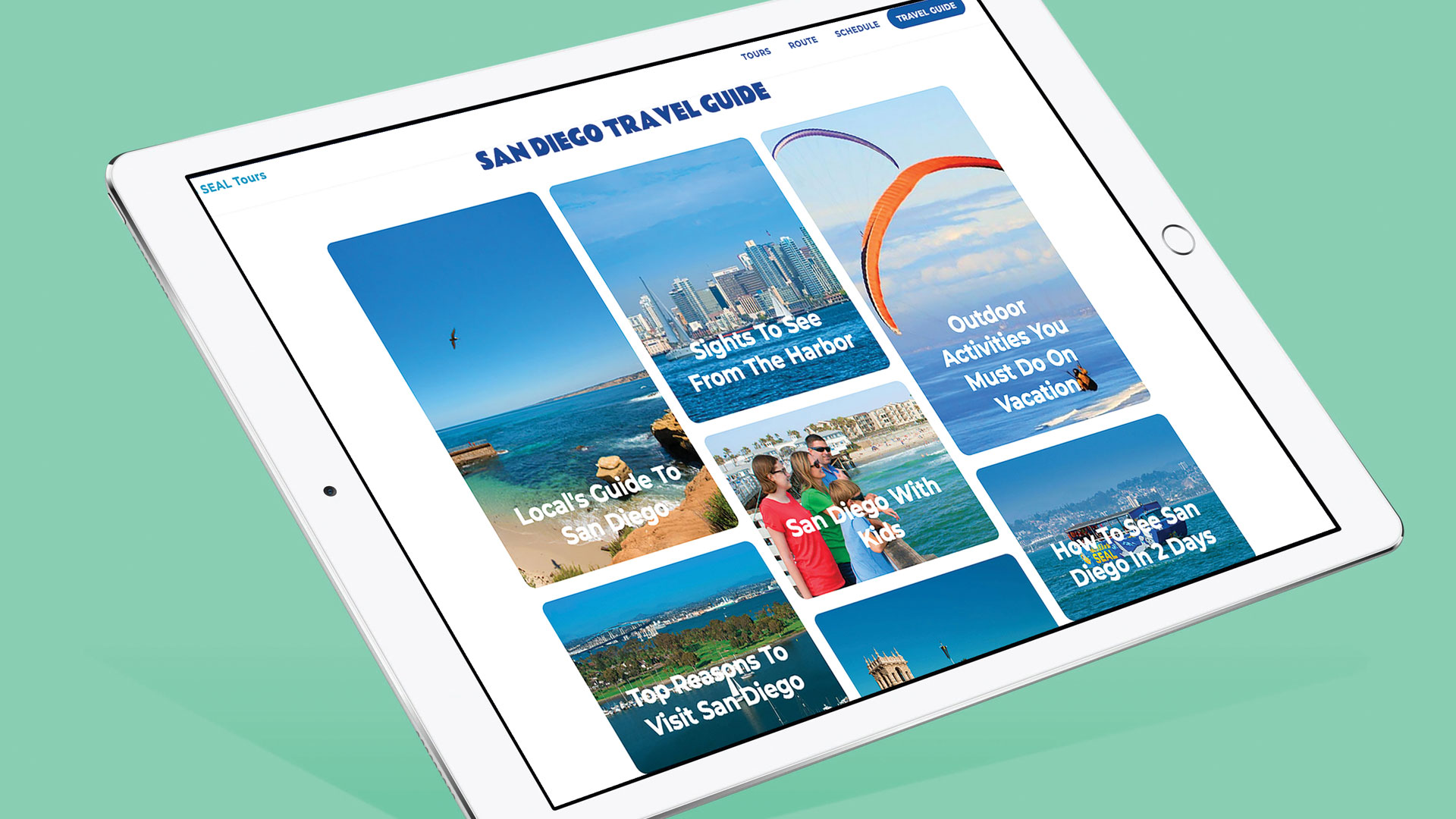 picture of tablet showing san diego website travel guide page