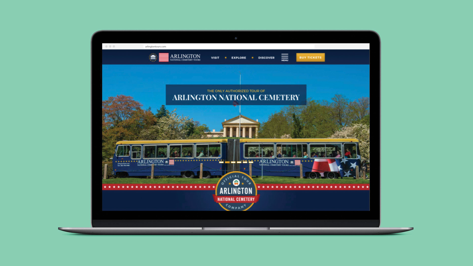 Arlington National Cemetery Tours website view from laptop