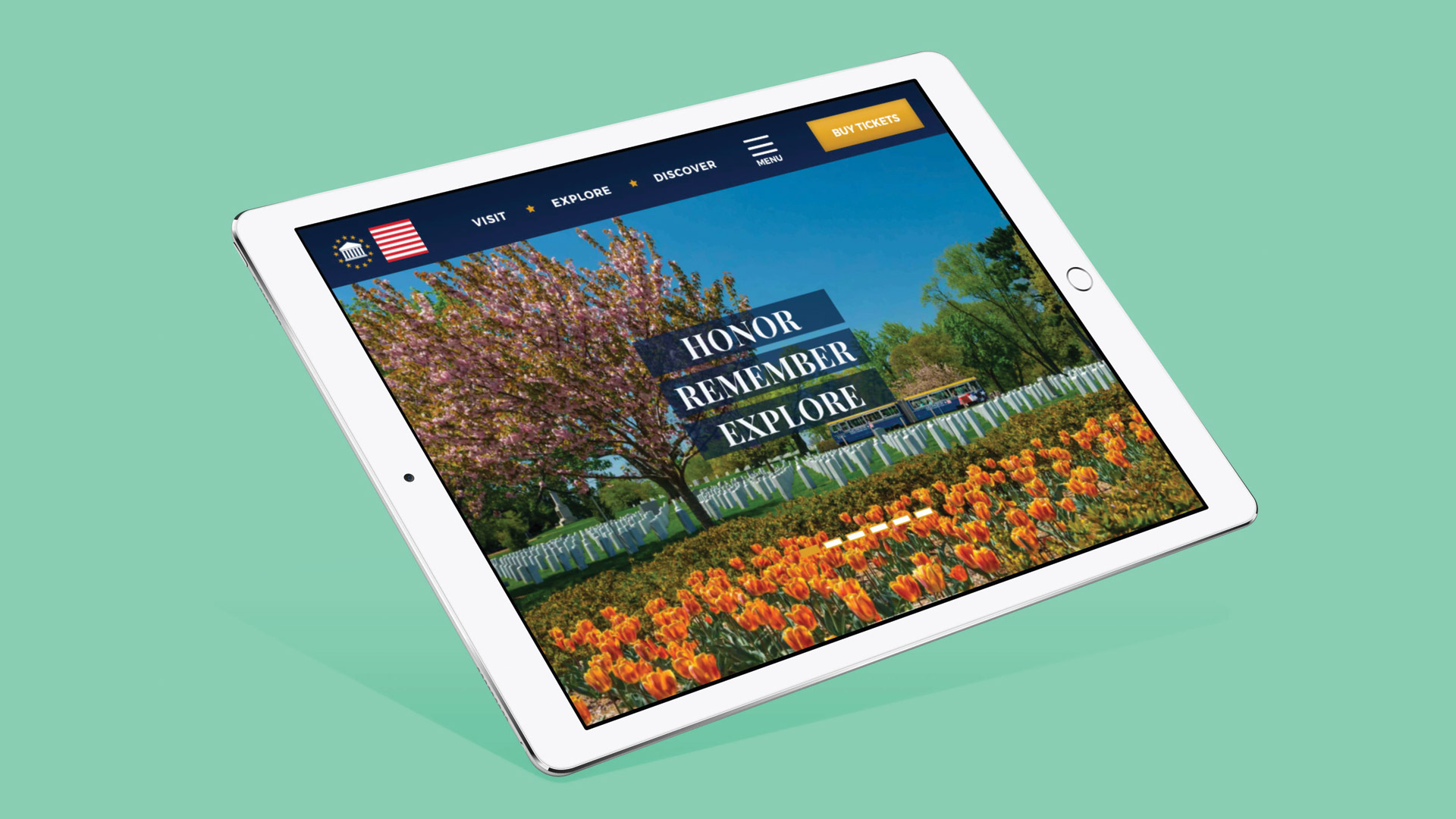 Arlington National Cemetery website view on tablet