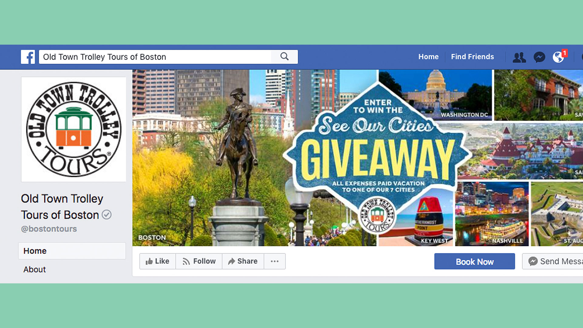 Picture of facebook cover showing pictures of seven us cities:Washington DC capitol, San Diego Hotel del Coronado, Nashville skyline at night, Savannah Mercer House, St. Augustine fort, Boston Washington statue and skyline, Key West southernmost point buoy