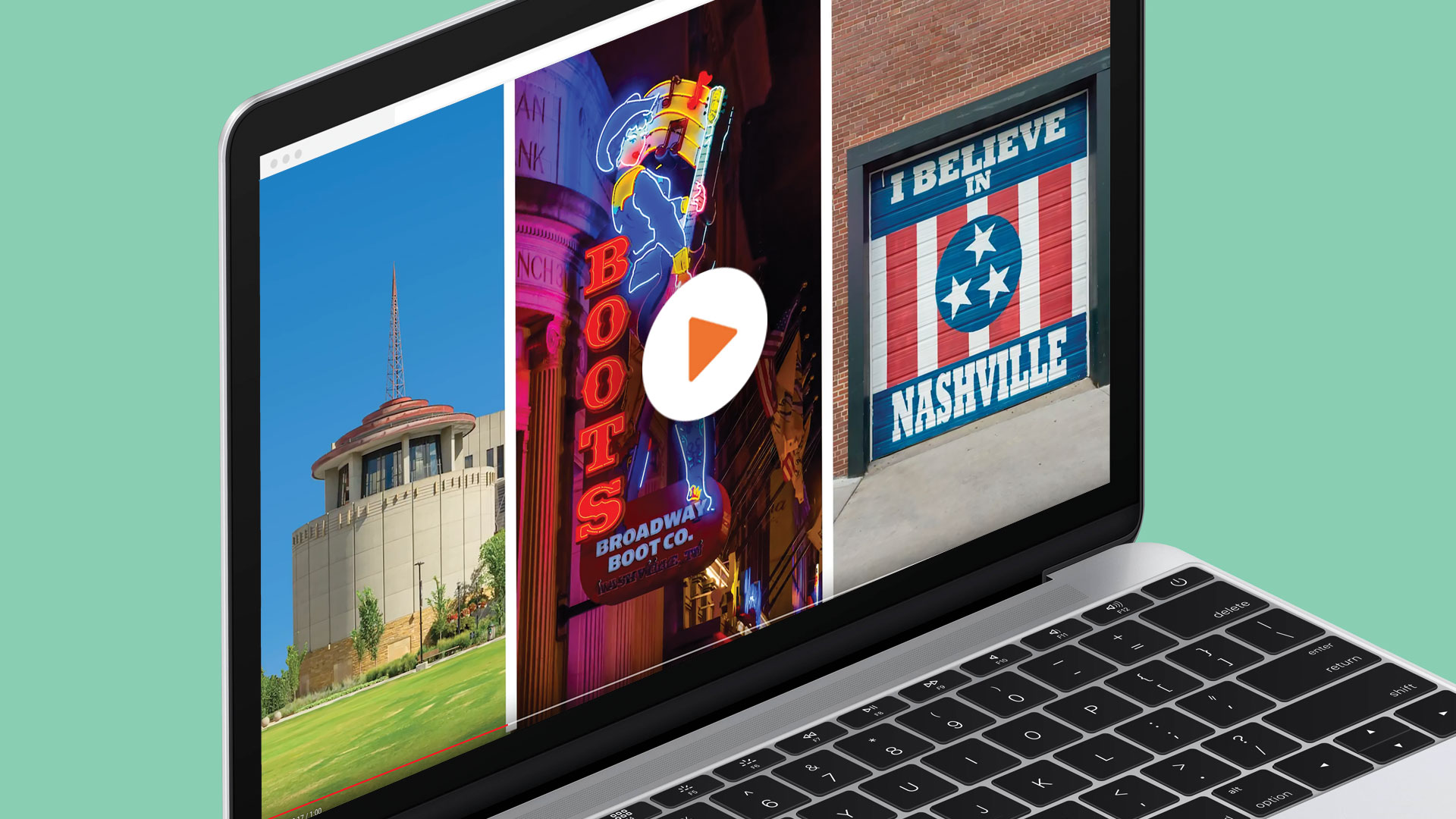 Picture laptop showing historic tours of America see our cities video promotion