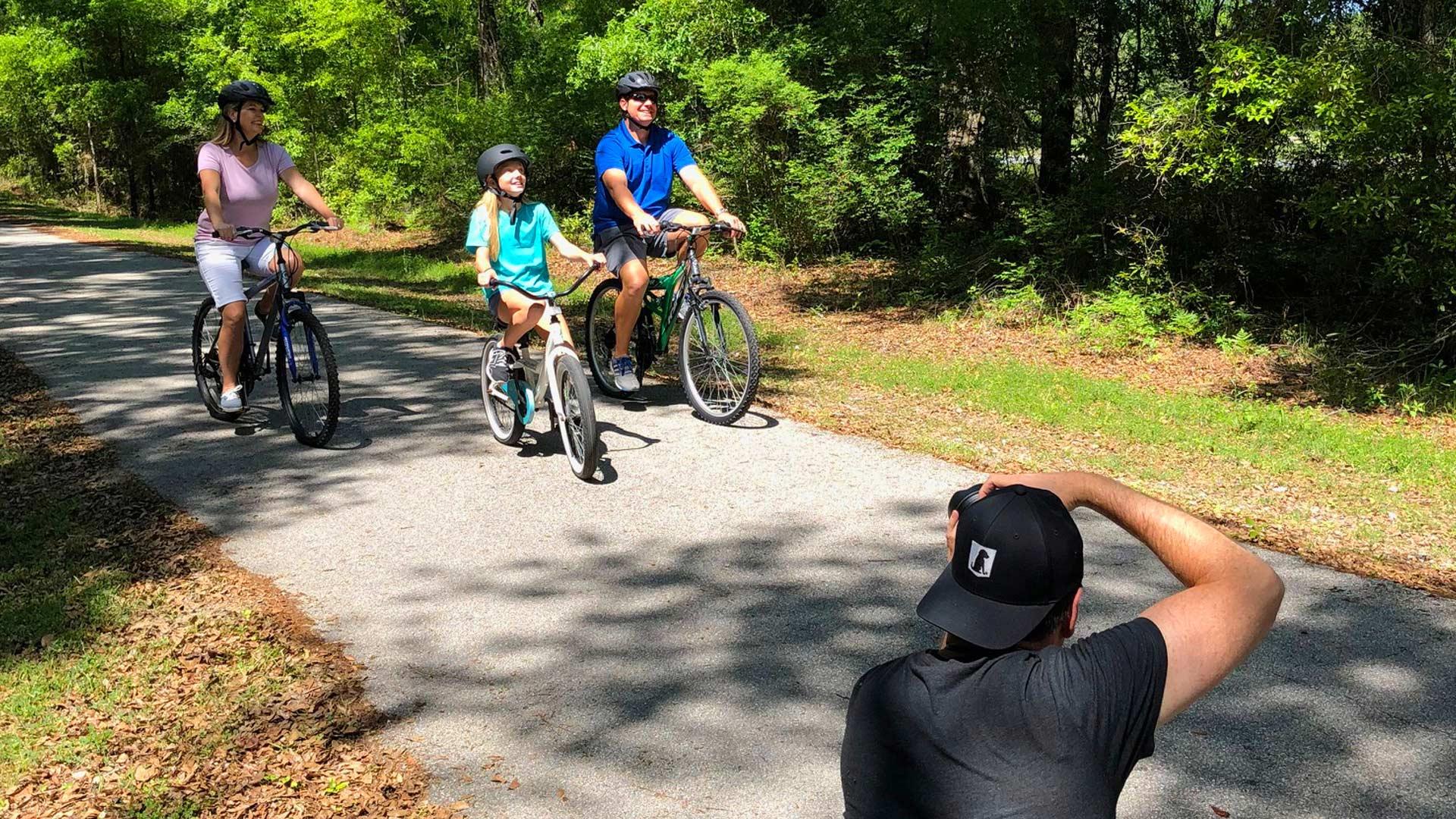 Family bike riding video shoot in Suwannee County