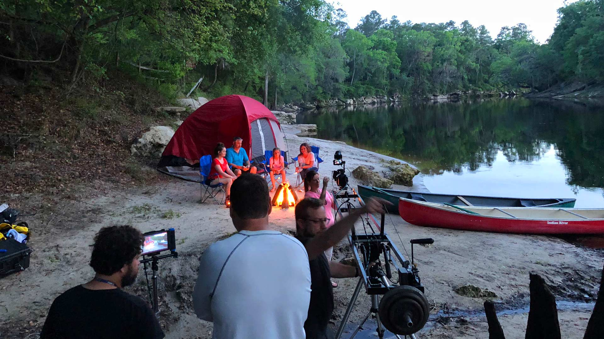 Video shoot production of family camping